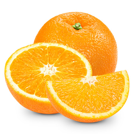 orange slices: Ripe orange isolated on white background