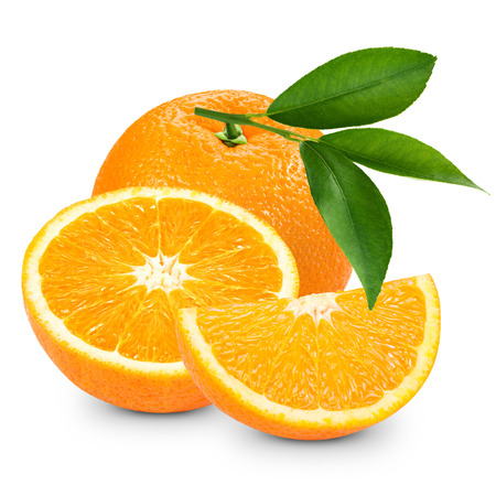 Orange fruit isolated on white background. Clipping Path   Stock Photo