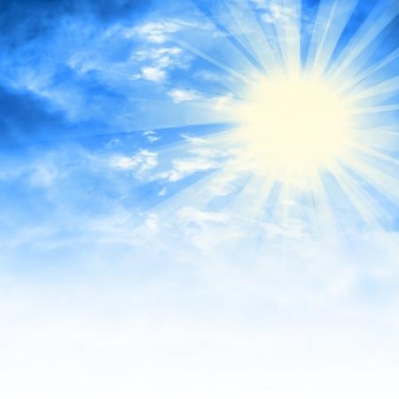 aire puro: mullidas nubes blancas en el cielo azul