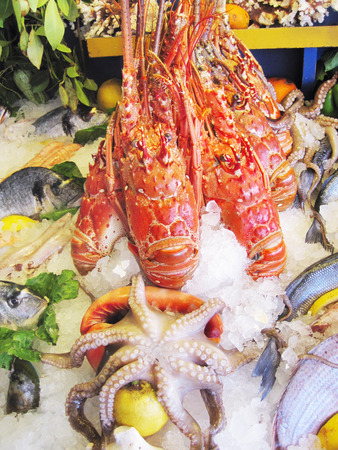 Fresh lobster and seafood arrangement displayed on the market.  photo