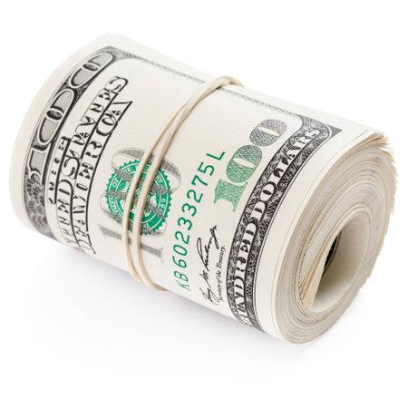 rubberband: Billetes de cien d�lares enrollados con goma el�stica. Trazado de recorte Foto de archivo