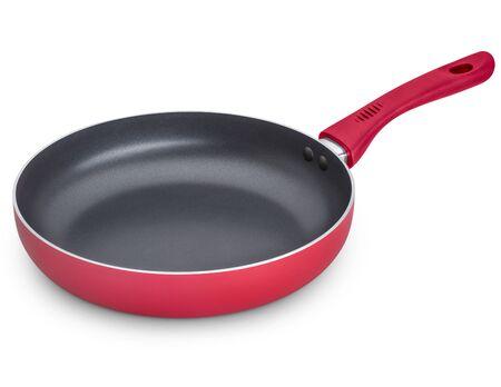 steel pan: Sartén rojo aislado en fondo blanco. Trazado de recorte