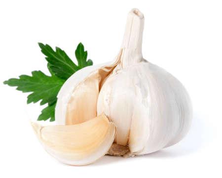 마늘은 흰색에 고립