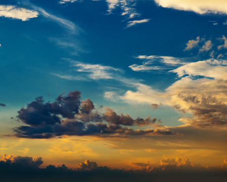incarnadine:  sunset of clouds and blue sky Stock Photo