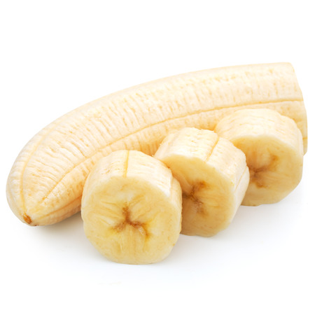 food additives: Freshly sliced bananas on a white background  Stock Photo