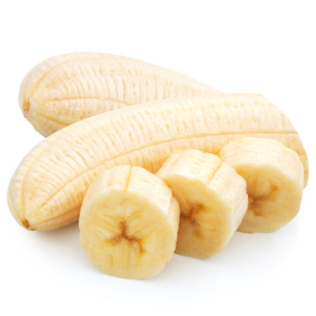 clipping  path: Banana slices isolated on a white background. Clipping Path   Stock Photo