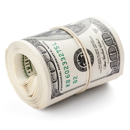 rubberband: Hundred dollar bills rolled up with rubberband. Clipping Path   Stock Photo