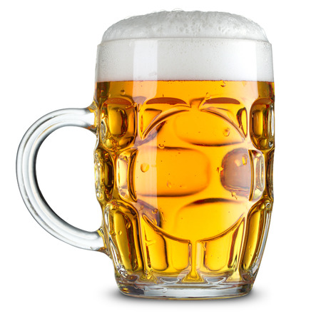single beer: Glass mug with beer isolated. Clipping Path Stock Photo