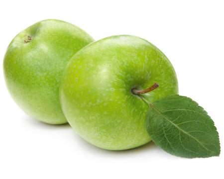 manzanas: Manzanas verdes aisladas en blanco