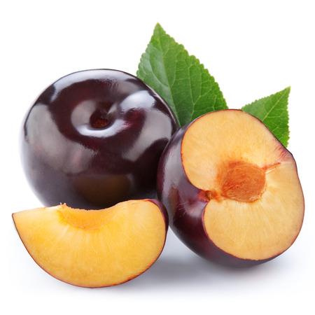 purple leaf plum: Fresh plums isolated on white Stock Photo