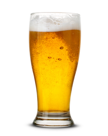 bubbles: Beer in glass isolated on white Clipping Path Stock Photo
