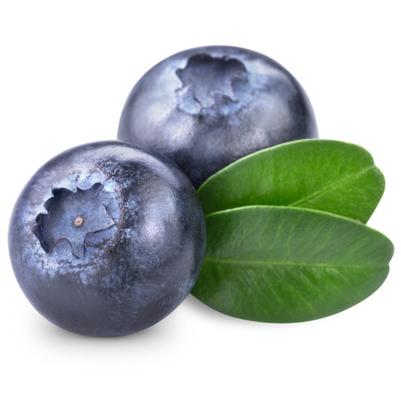 Blueberries with leaves on white background. Clipping Path Zdjęcie Seryjne - 33414554