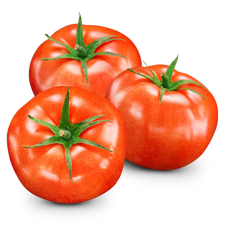 fresh red tomato isolated on white photo