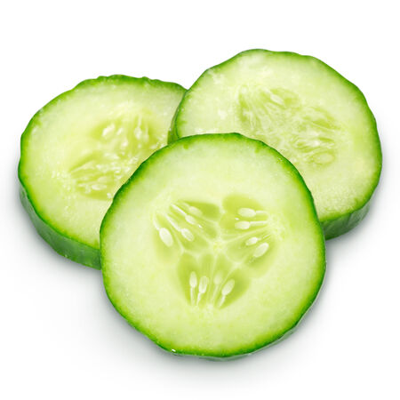 cucumber slice: Fresh cucumber slice isolated. Clipping Path Stock Photo