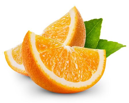 오렌지 과일 조각은 고립