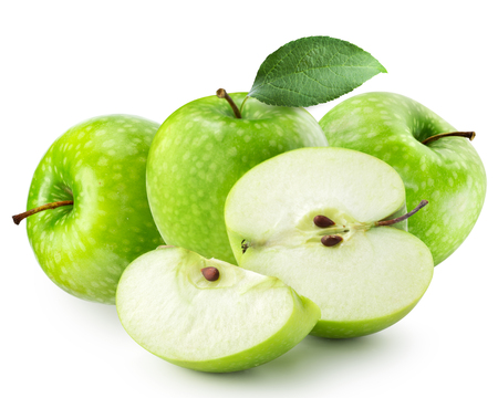 isolated on green: Green apple isolated Stock Photo