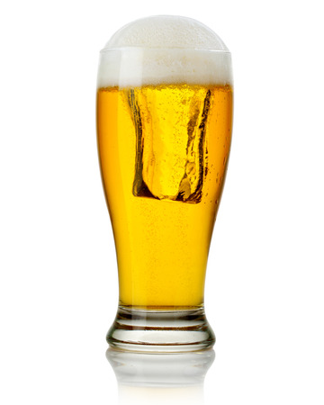 Glass of beer isolated. Clipping Path photo