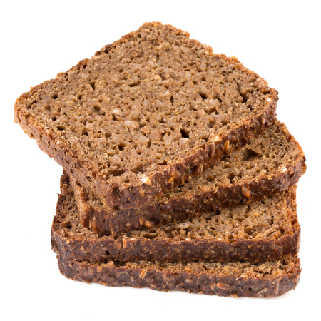 wholemeal: Slice of a whole wheat bread isolated on a white background