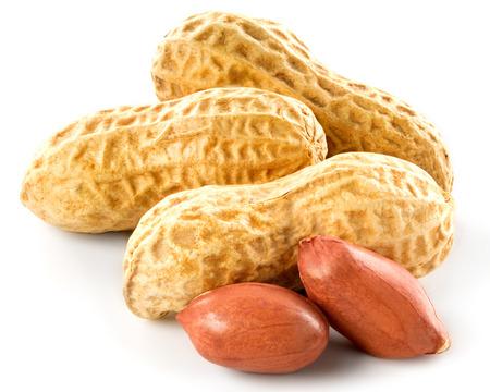 cacahuate: Cacahuetes aislados en un fondo blanco.