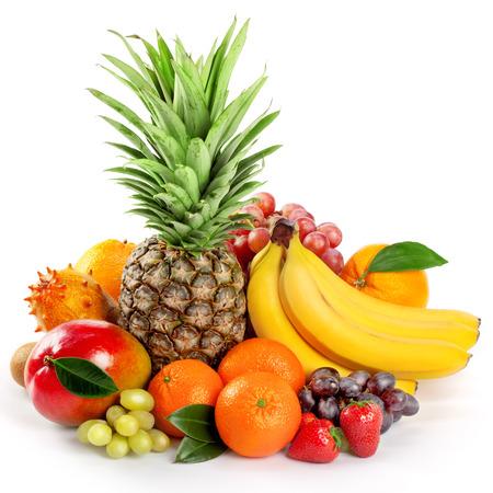 Seasonal organic raw fruit. Isolated over white background Archivio Fotografico