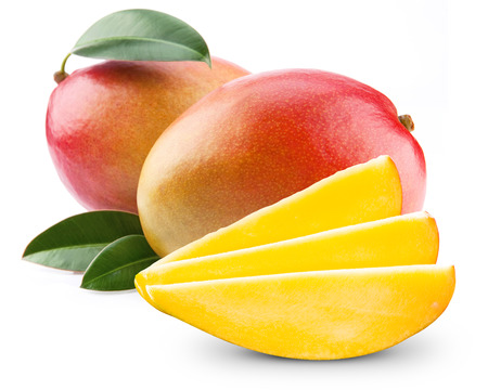 mango leaves: mango fruit isolated on white