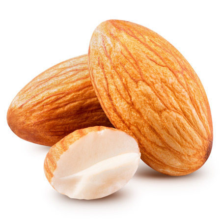 almonds nuts isolated. Clipping Path photo