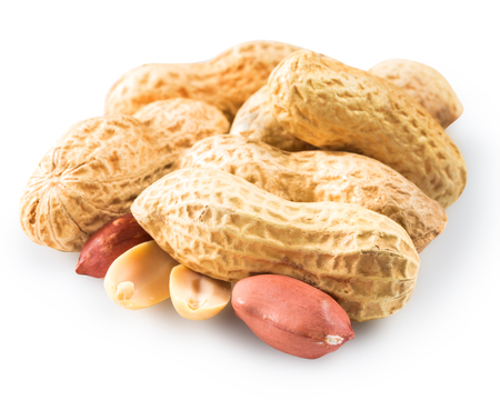 hulled: Dried peanuts in closeup. Clipping Path