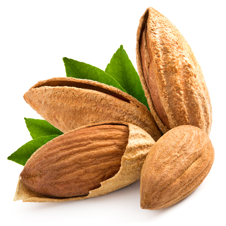 tasty almonds nuts isolated on white background Stock Photo