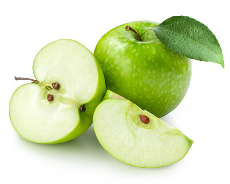 manzana verde: Aislado Manzana verde. Trazado de recorte