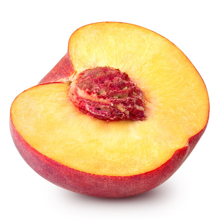 peach slice isolated on white background Clipping Path