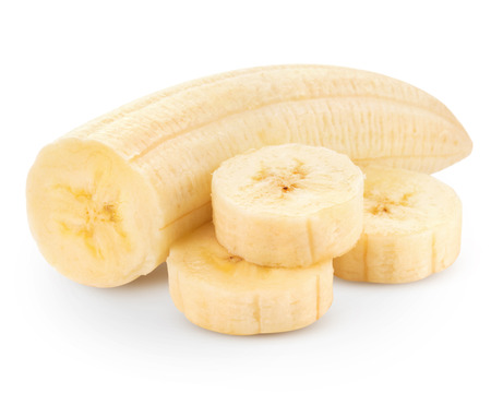 peeled banana: Freshly sliced bananas on a white background Clipping Path