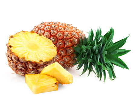 sweet food: Pineapple isolated on white background