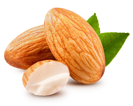 tasty almonds nuts isolated on white background Banque d'images