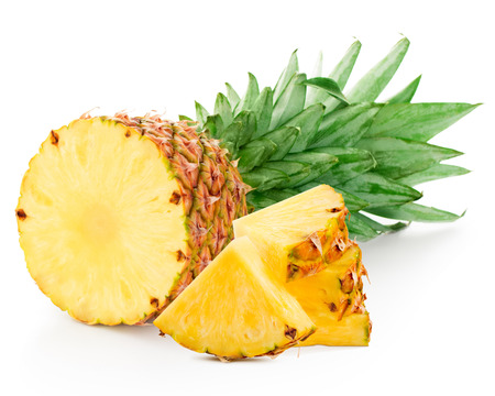 pineapple: pineapple with slices isolated on white