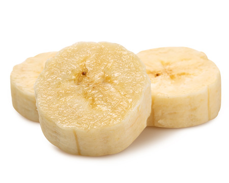 peeled banana: Freshly sliced bananas on a white background Stock Photo