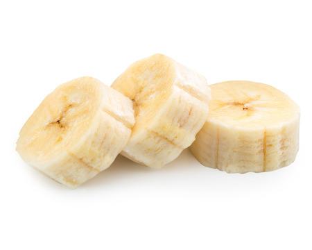 additives: Freshly sliced bananas on a white background Stock Photo