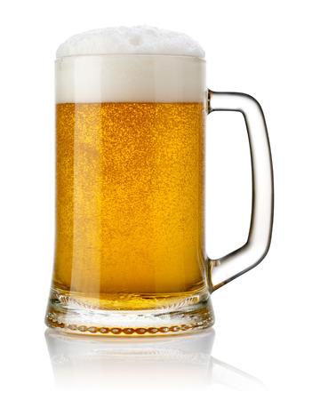 single beer: Mug fresh beer isolated.