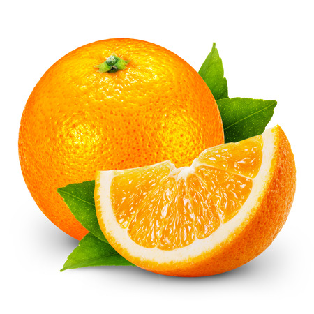 オレンジ色の果物は、白い背景で隔離。