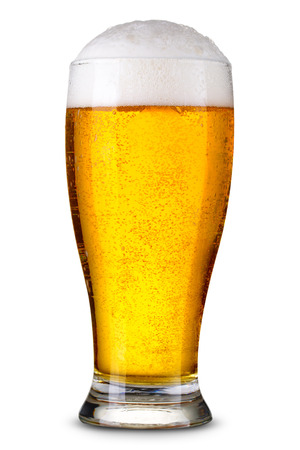 foam: Glass of beer isolated. Clipping Path