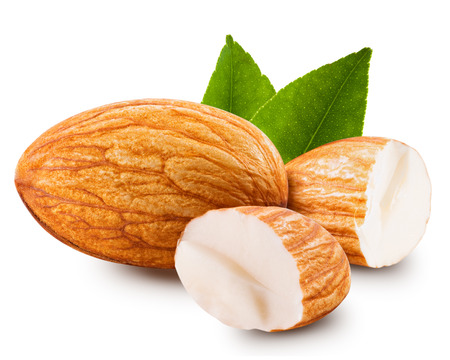 Smakelijke amandelen noten op een witte achtergrond Stockfoto - 36774534