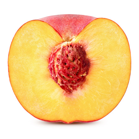 from halves: peach slice isolated on white background Clipping Path