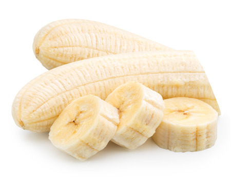 peeled banana: Freshly sliced bananas on a white background Stock Photo