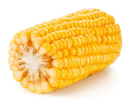 yellow corn: Corn on the cob kernels isolated Clipping Path Stock Photo