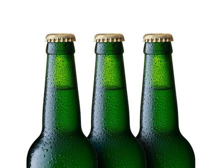 Beer bottle with drops isolated
