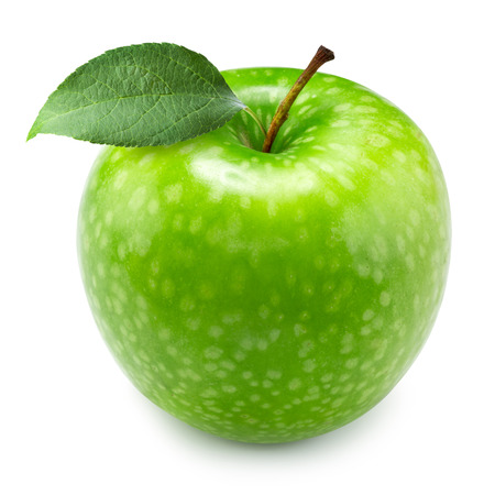 Grüner Apfel Obst und grünen Blättern isoliert. Clipping-Pfad