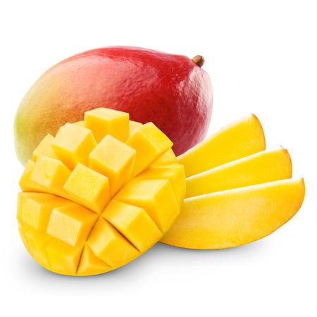 mango leaves: mango fruit isolated on white background