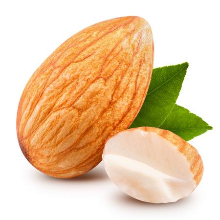 Leckere Mandeln Nüsse auf weißem Hintergrund Standard-Bild - 37068726