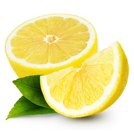 limón: Limones aislados sobre fondo blanco