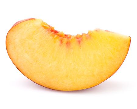 peach slice isolated on white background cutout Foto de archivo