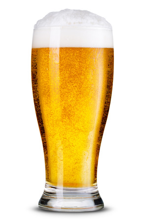 Glass of beer isolated.